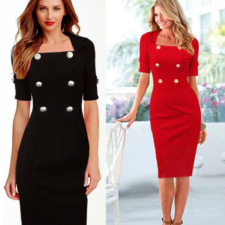 Hot Selling WOMEN'S Dress Solid Color Dress Double Row Button Short Sleeve Slim Fit Pencil Skirt Fd3156