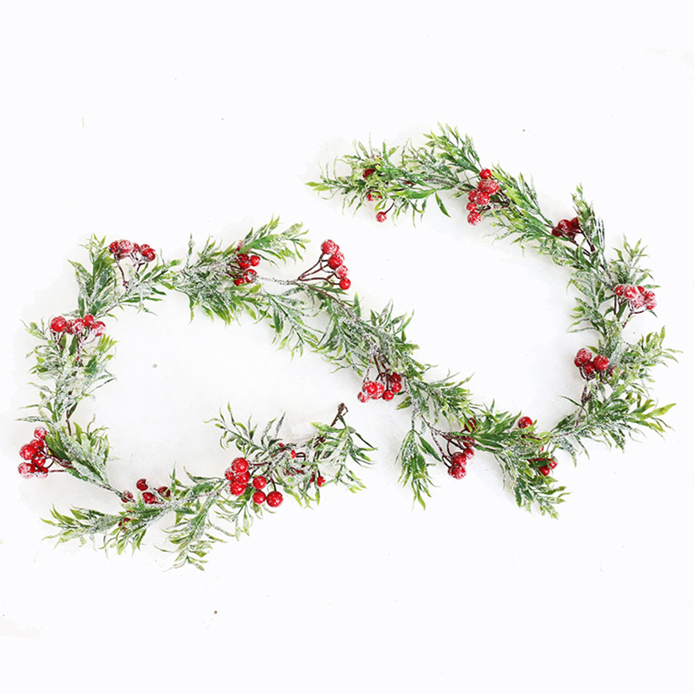 1.7m Artificial Christmas Rattan Berry Flower DIY Garland Wreath Green Tree Ornament Home Hanging Ornament For Party Xmas Decor