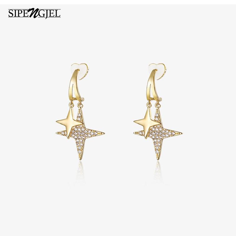 Модные серьги-гвоздики с золотыми звездами и фианитами женские серьги для женщин модные ювелирные изделия 2020 pendientes hombre
