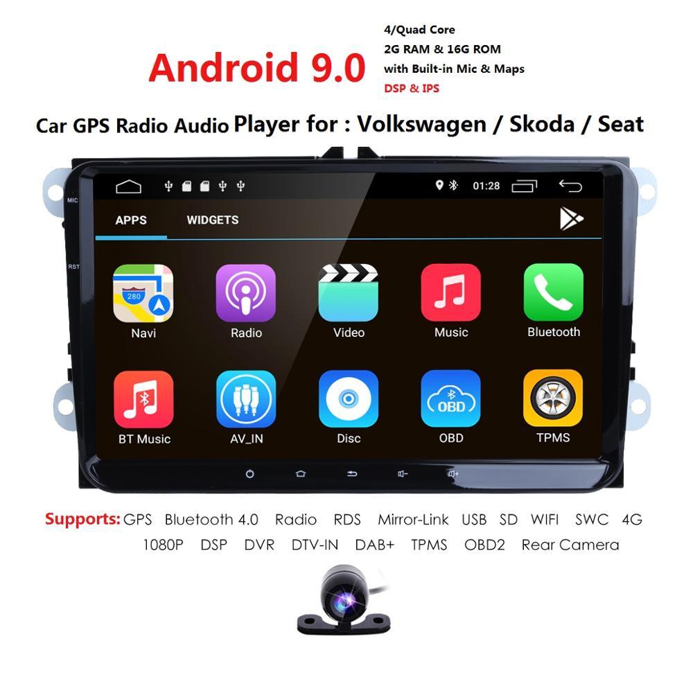 2G + 16G 2 din android 9,0 автомобильный dvd для vw passat b5 b6 golf 4 5 Tiguan Polo skoda Octavia Rapid fabia мультимедийный gps плеер 4GWIFI