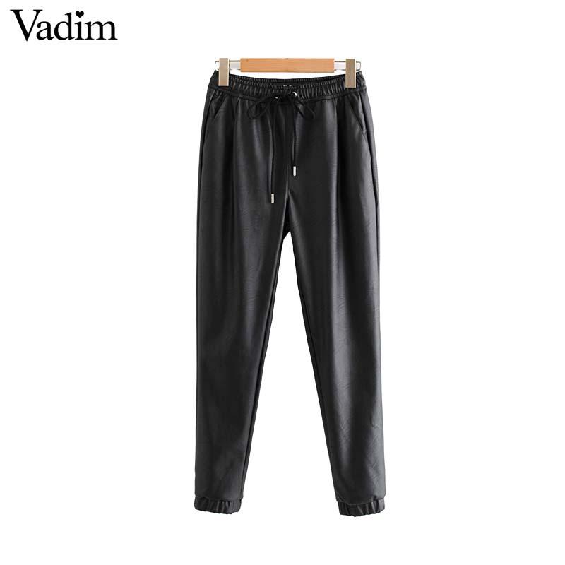 Vadim women chic PU leather pants solid elastic waist drawstring tie pockets female basic elegant trousers KB131 19