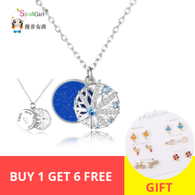 StrollGirl New 100%925 Sterling Silver Lady Cute White CZ Snowflake Star Necklace Pendant Fashion Jewelry Free Shipping