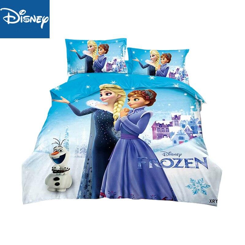 Disney Princess Bedding Sets 3pc Single Twin Size Frozen Elsa Anna Print Bed Cover Room Decor Duvet Cover 3cps Pillow Case Linens