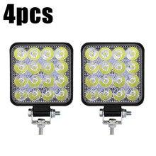 4pcs Mini 48W 16LED Work Lights Flood Beam Bar Car SUV Off-Road Driving Fog Lamps Waterproof 1000LM 6000K IP67