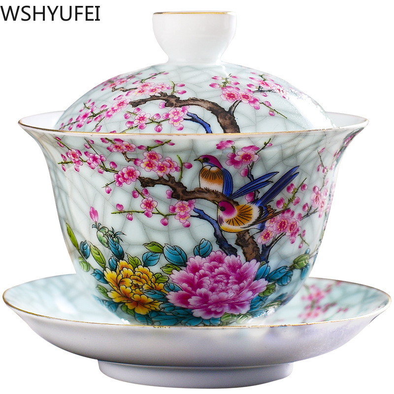 WSHYUFEI Jingdezhen Porcelain Art Bird Gaiwan Ceramic Flower Tea Bowl with Saucer Lid Kit Master Tea Tureen Drinkware Gift 180ml