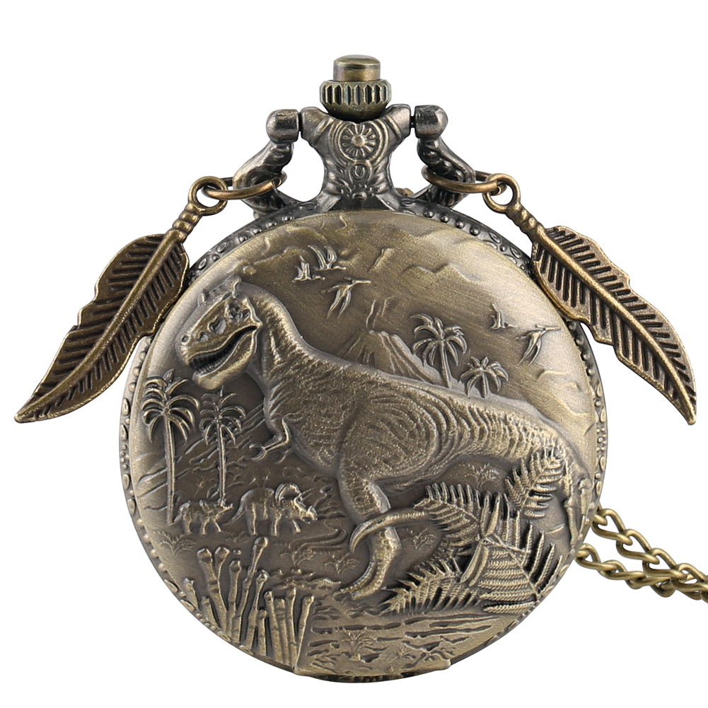 Retro 3D Dinosaur Sculpture Design Necklace Quartz Pocket Watch Top Gifts Pendant Clock FOB Chain With Bronze Leaf Accessory