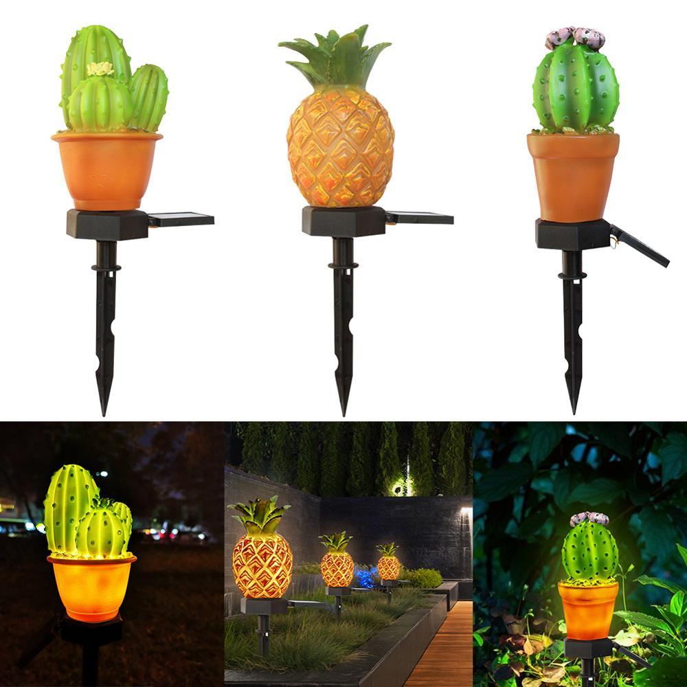 LED Solar Lamp 3 Cactus Light Sensor Control Spike Lamp For Garden Lighting Dropshipping