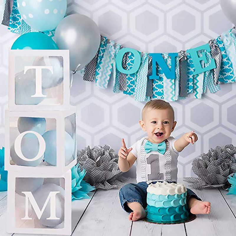Boîte transparente pour fête prénatale garçon fille   Décor de fête prénatale baptême pour bébé, boîte à ballons, cadeau pour réception-cadeaux pour bébé
