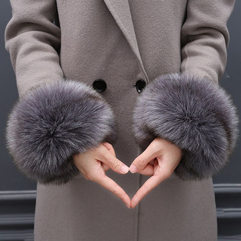 8 Colors Faux Rabbit Fur Thicken Women Winter Warm Wrist Gloves Fake Cuff Oversleeve Armer