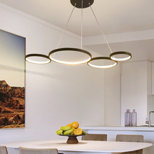 NEO Gleam 화이트/블랙 현대 LED 펜던트 조명 부엌 식당 거실 Żyrandol 서스펜션 펜던트 램프