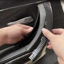 6 pçs lhd acessórios do carro estilo carbono interior maçaneta da porta puxar capa guarnição para bmw série 3 e90 e91 e92 316 318 320 325 328i