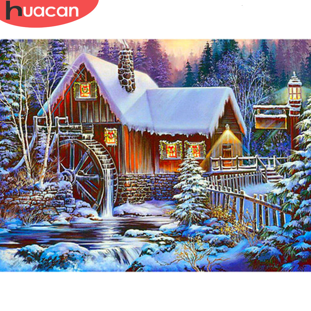 HUACAN <font><b>5D</b></font> <font><b>Diamond</b></font> <font><b>Painting</b></font> <font><b>Winter</b></font> Landscape Full Round Drill Home Decoration Christmas Handcraft Kit New Lover Gift image