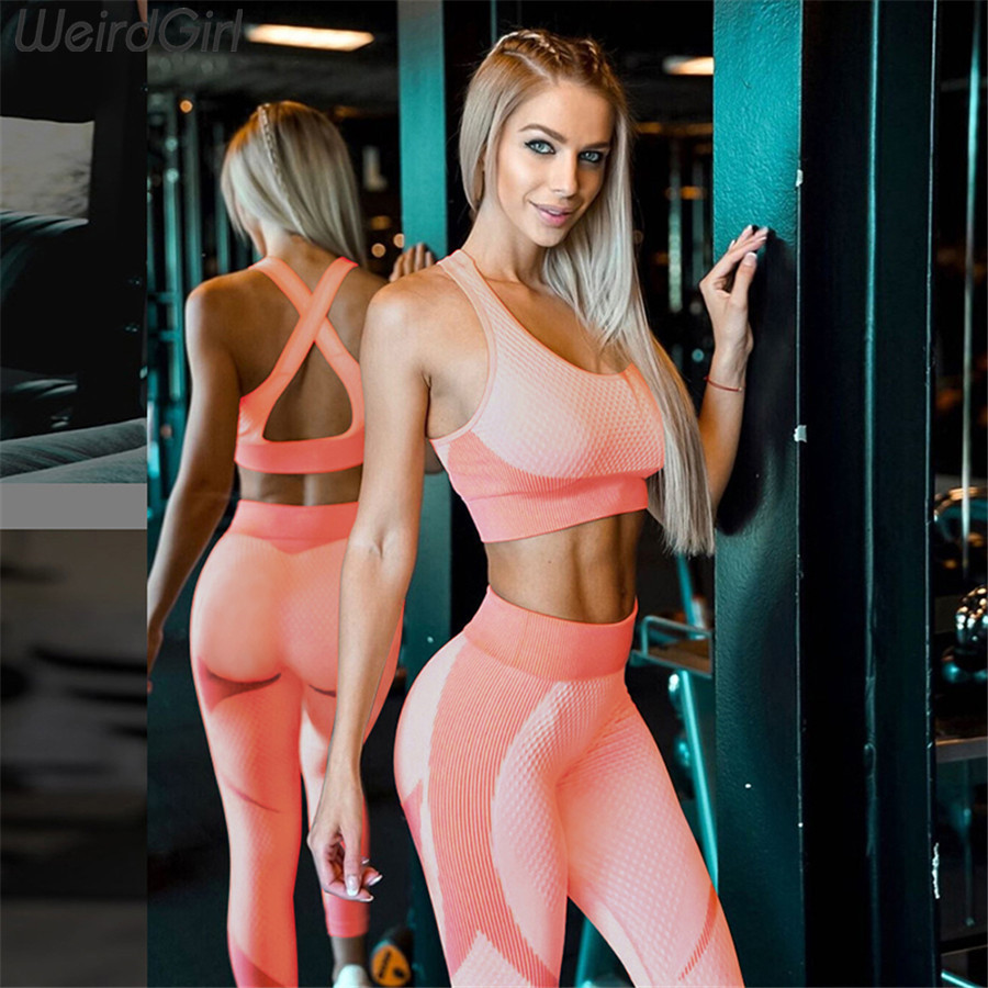 Weirdgirl Women Sets 2 Pieces Fitness Tracksuit Vintage Elastic Tank Top With Pads Long High Waist Leggings Casual Sportwear New