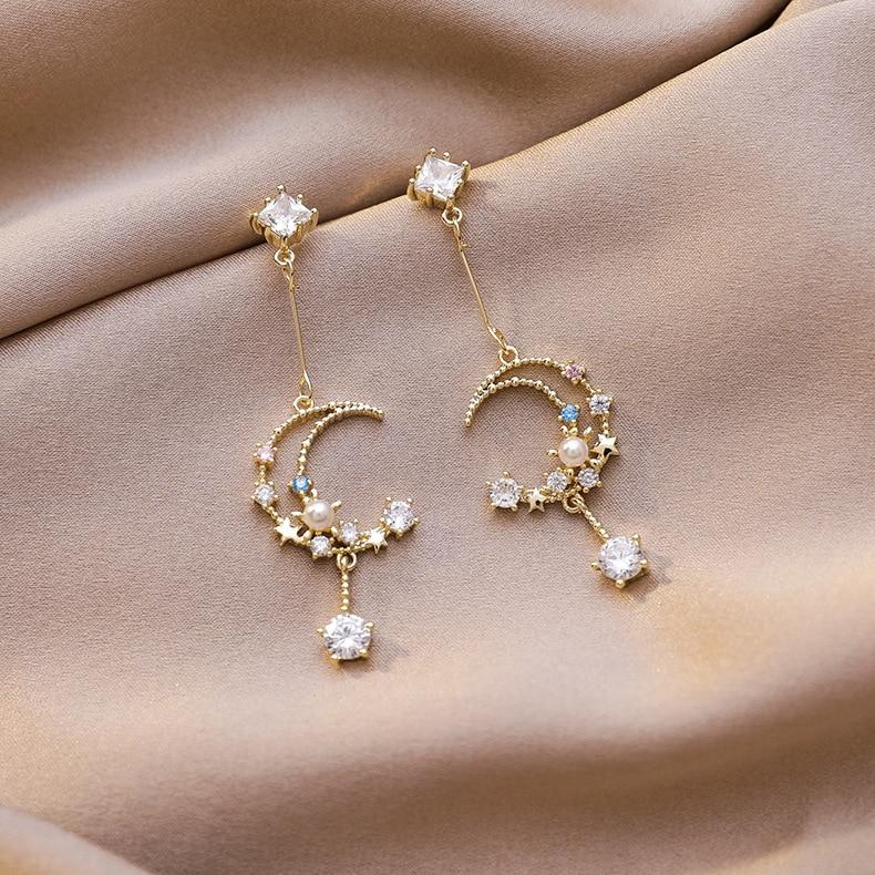 2020 New Arrival Vintage Rhinestone Sweet Moon Tassel Zircon Color Drop Earrings For Women Water Drop Crystal Pendant Jewelry