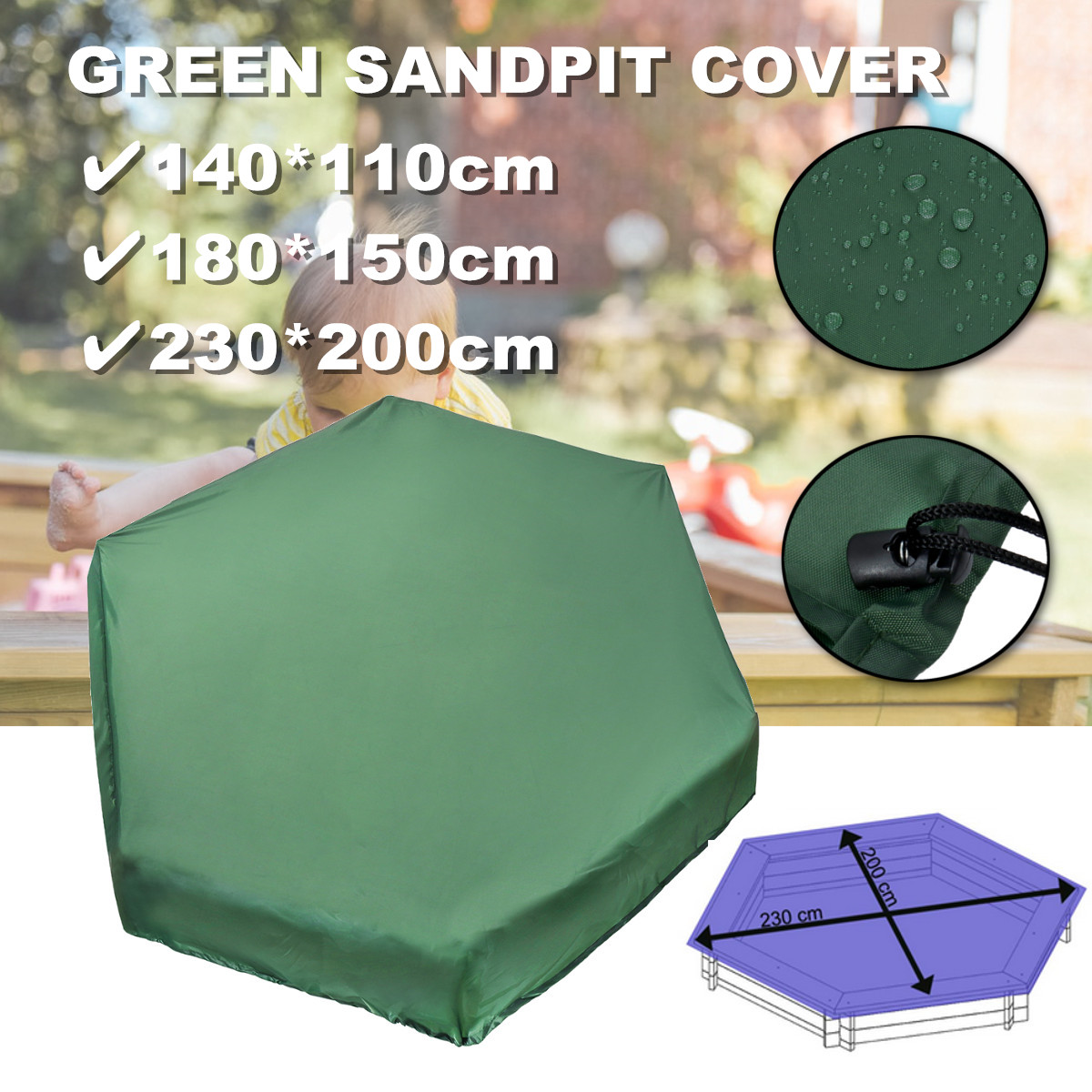 3Sizes Square Waterproof Rain Snow Oxford Cloth Dust Cover Canopy Drawstring Sandbox Sandpit Dustproof Cover Patio Garden