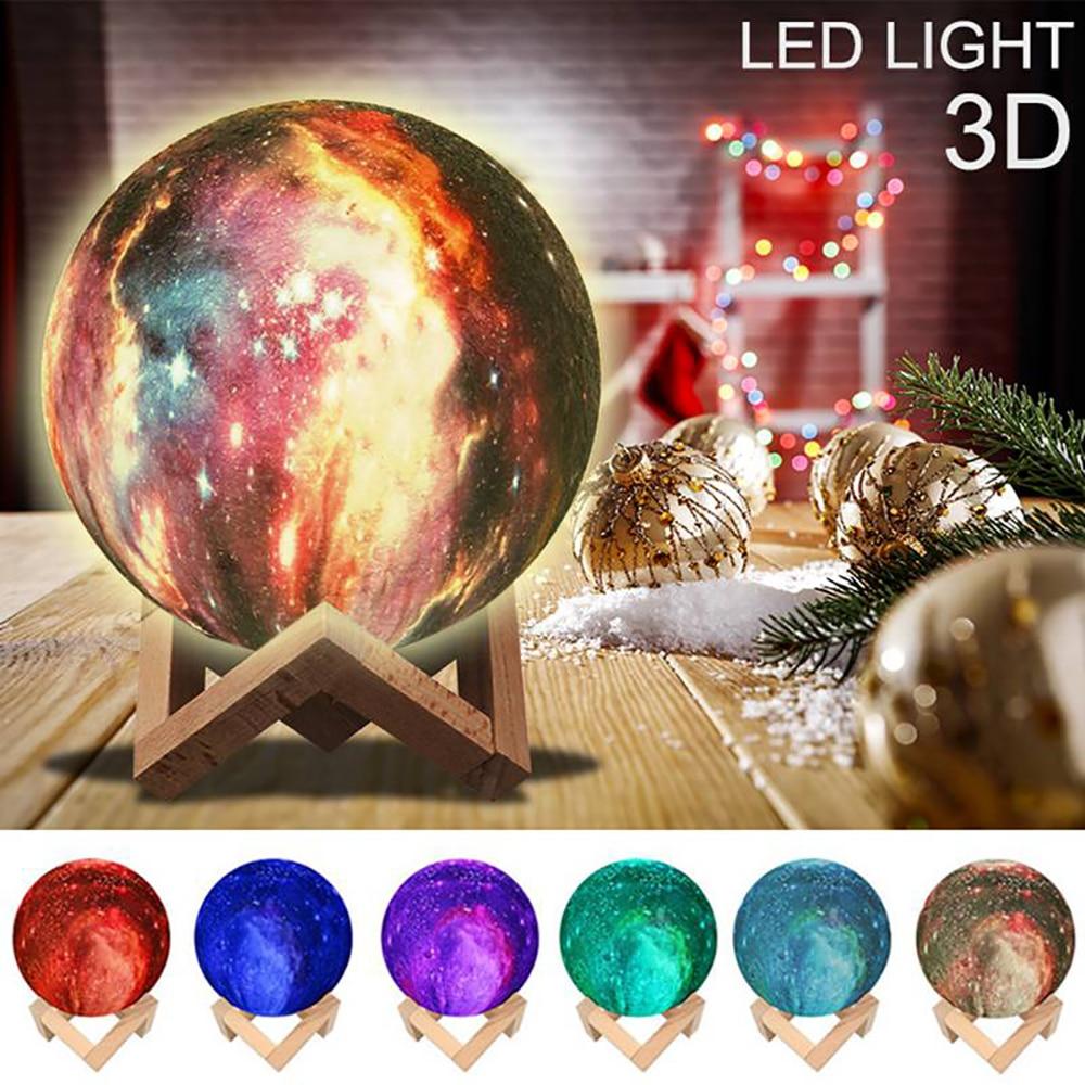 Galaxy Moon Lamp LED 3D Print Star Light 16 Colors Change RemoteTouch Creative Gift USB Moon Night Light Galaxy Lamp Home Decor