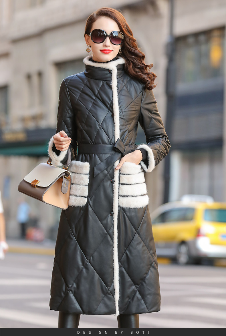 Jacket Leather Winter Coat Women Clothes 2020 Mink Fur Collar Warm Long Down Jacket Women Genuine Sheepskin Coat MY4447