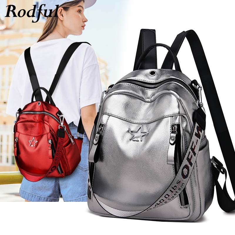 Fashion Luxury Women Leather Backpack Silver Red Female Backpack One Shoulder Bag Back Pack For Women Girls Large Ladies Bagpack