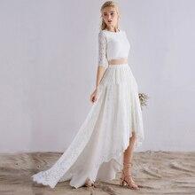 White Half Sleeve Lace Wedding Dress 2 In 1 Detachable Robe De Mariee Two Piece Bridal Gown 2019 High Low Vestidos Novia