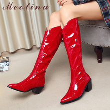 Meotina Western Boots Women Shoes Pleated High Heel Knee High Boots Pointed Toe Thick Heels Slip-On Long Boots Autumn Winter 46