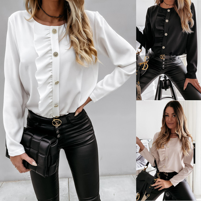 2020 Autumn Winter Ruffles Women Shirt Blouse Long Sleeve V-Neck Tops Shirts Lady Flared Sleeves Blouses Female Loose Top Blusa 6