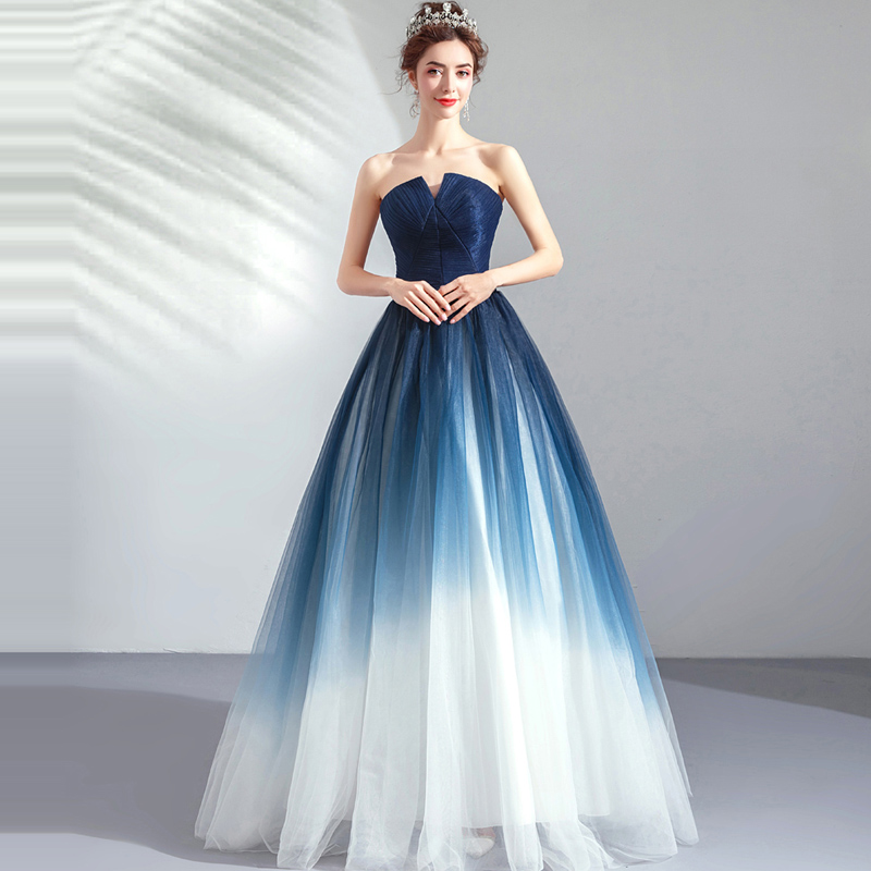 It's YiiYa Prom Gowns Blue Sleeveless Strapless A-Line Floor Length Long Party Dress Custom Plus Size Prom Dresses 2019 E263