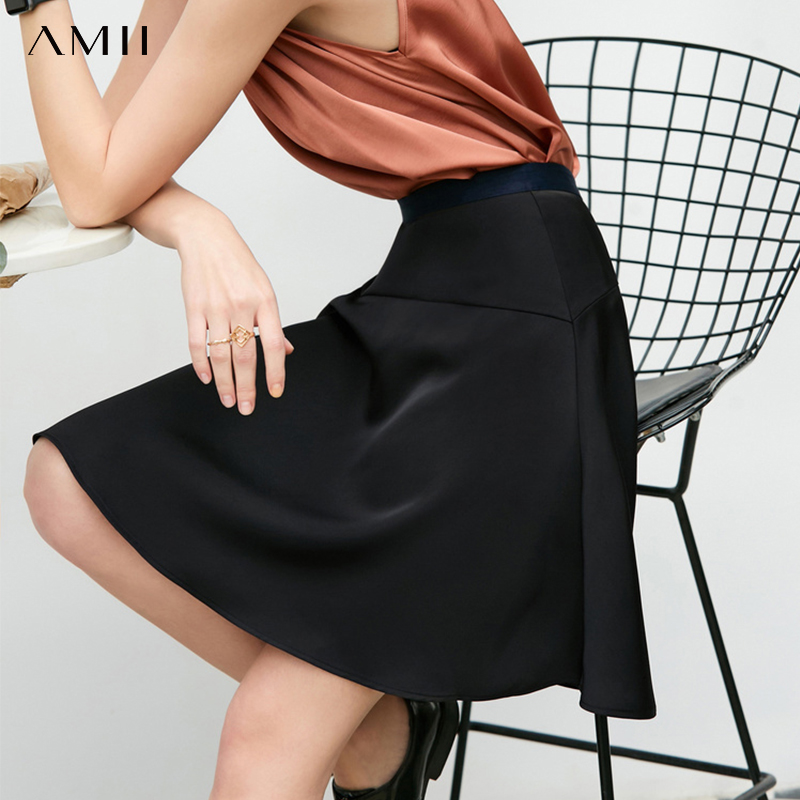 Amii Minimalist Summer A-line Skirt Women Elegant High Waist Solid Female Mini Skirt 11930147