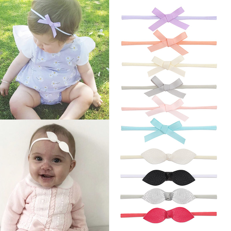 6Pcs/lot Headband For Girls Nylon Hair Bands With Ribbon/Glitter/Leather/ Organza Hair Bows Newborn Baby Hair Accessories