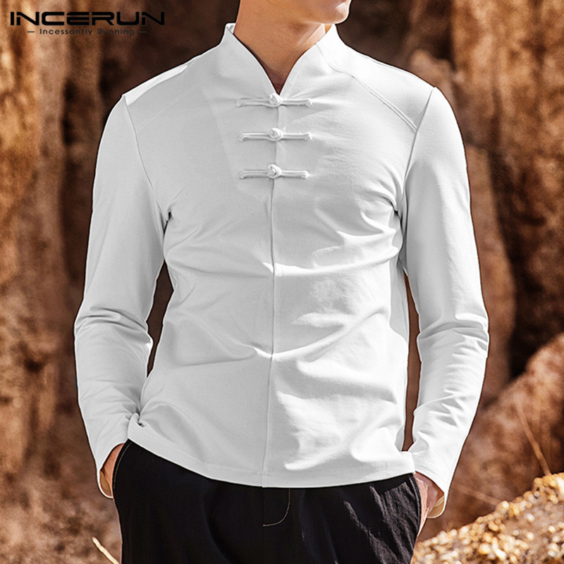 Autumn Solid Color Men Long Sleeve Shirt Cotton Linen V Neck Button Up Chinese Style Vintage Men Clothes Men Leisure Shirts 2020