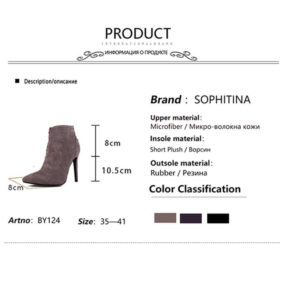 SOPHITINA seksi sivri burun çizmeler moda perçin yüksek ince topuk el yapımı Metal dekorasyon yeni düz ayakkabı kadın yarım çizmeler BY124