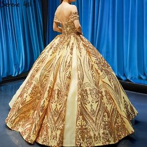 Image 2 - Robe de mariée dorée, robe de mariée luxueuse, sans manches, à épaules dénudées, avec paillettes, haut de gamme, HM66709, modèle 2020