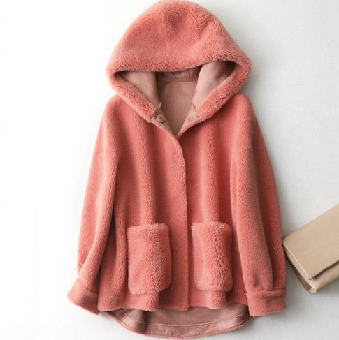 New sheep shearing coat with big hat women Real Sheep Fur jacket Wool Coat size is big Free shipping F123|Real Fur| - AliExpress