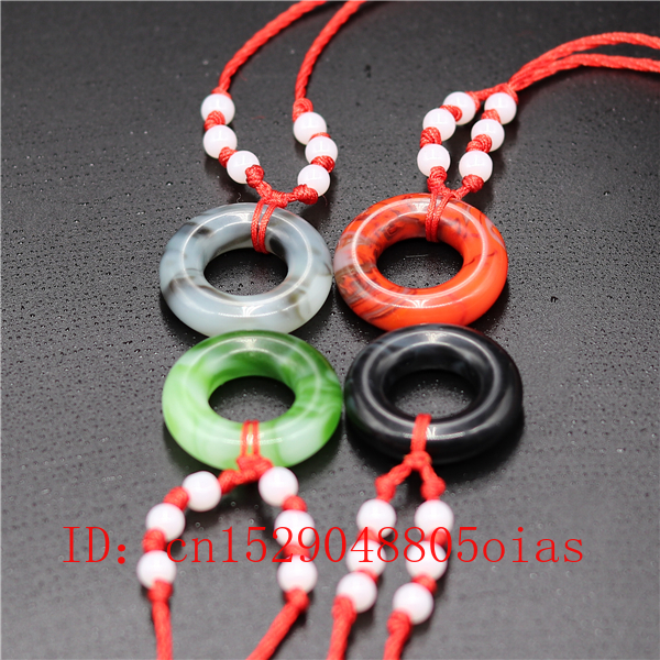 Natural Multicolor Chinese Jade Donut Pendant Necklace Charm Jewellery Fashion Accessories Carved Amulet Gifts For Women Men