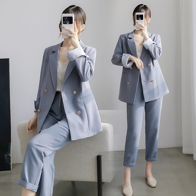 Casual Office Ladies Suit Pants Suit Large Size M-5XL Autumn New High Quality Fashion Blue Suit Two-piece Versatile Trousers