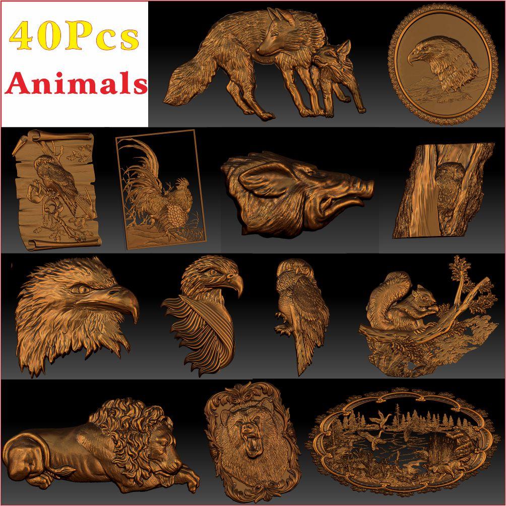 40_Pcs_Animals ulga modelowa 3D STL dla routera CNC Aspire Artcam _ Animal