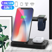 5 in 1 Wireless Charging Stand for Apple Watch AirPods pro Charging Dock Station creative rainbow bridge charging stand bracket for iwatch aluminum alloy arc dock station charging cradle holder for apple watch
