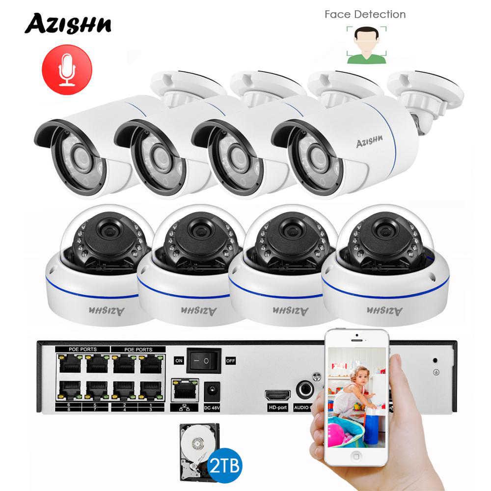 AZISHN H.265 + 8CH 5MP POE NVRชุดกล้องวงจรปิดCCTVระบบ 5MP Dome IPกล้องตรวจจับใบหน้าP2Pในร่ม/การเฝ้าระวังวิดีโอกลางแจ้งชุด