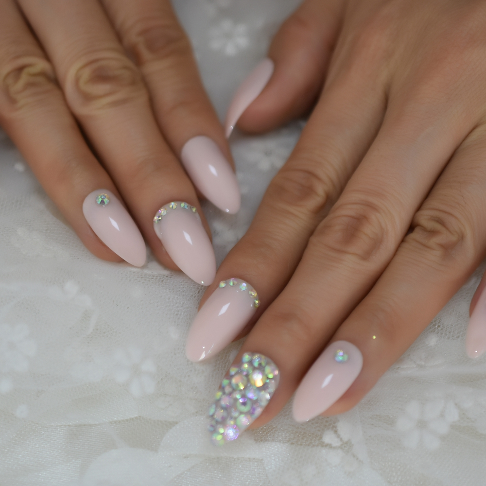 Light Pink Press On Nails Crystals AB Pre-desgined Nail Ar Tips Stiletto Medium Ladies Fingernail With Adhesive Tabs