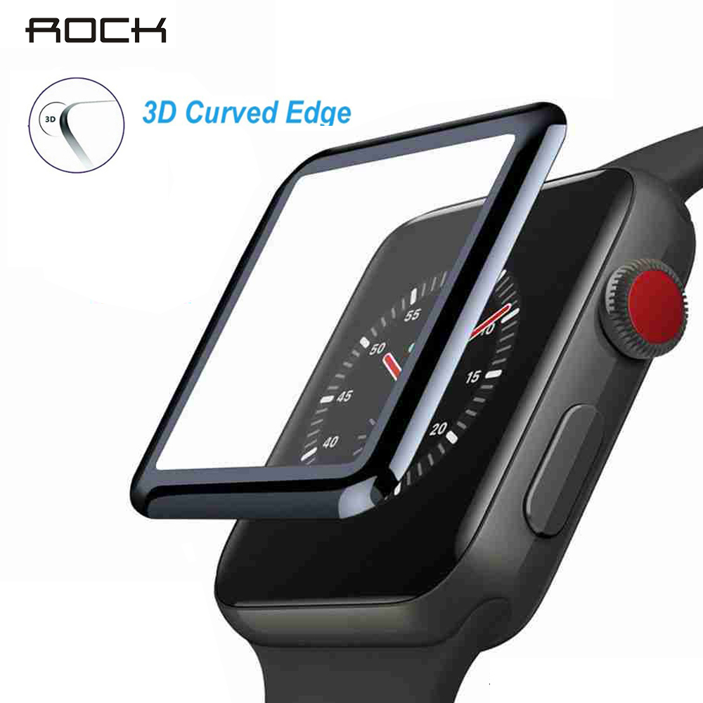 ROCK For Iwatch 4 5 40mm 44mm Tempered Glass 3D Curved Edge Protective Glass For Apple Watch 1 2 3 38mm 42mm Screen Protector