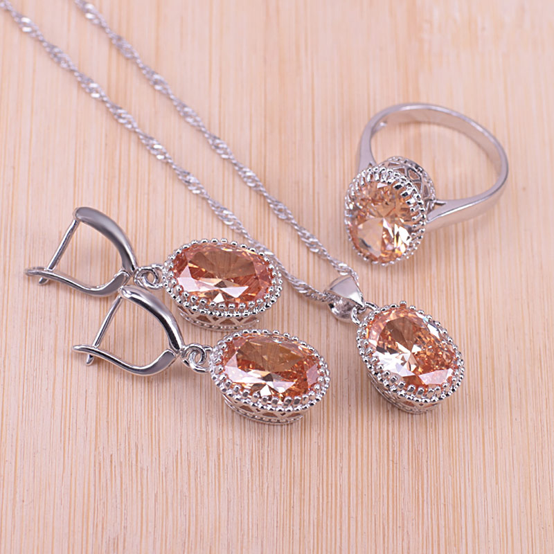 Genuine Silver Color Jewelry Oval Pendant Necklace Earrings+Rings Pretty Cubic Zirconia For Women Bridal