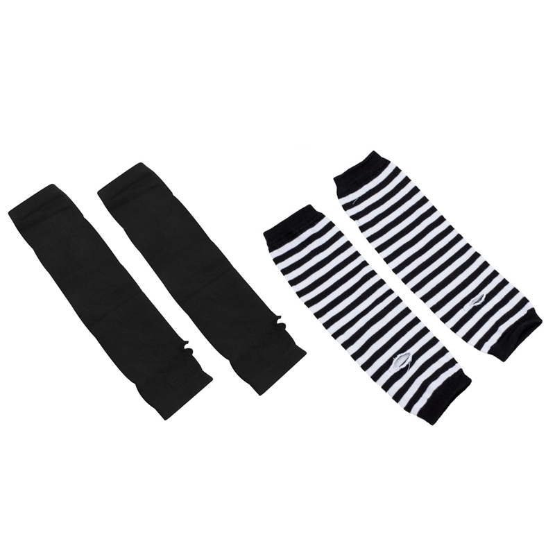 2 Set Fashion Women Lady Girls' Stretchy Soft Arm Warmer Long Sleeve Fingerless Gloves - Black White Stripe & Black