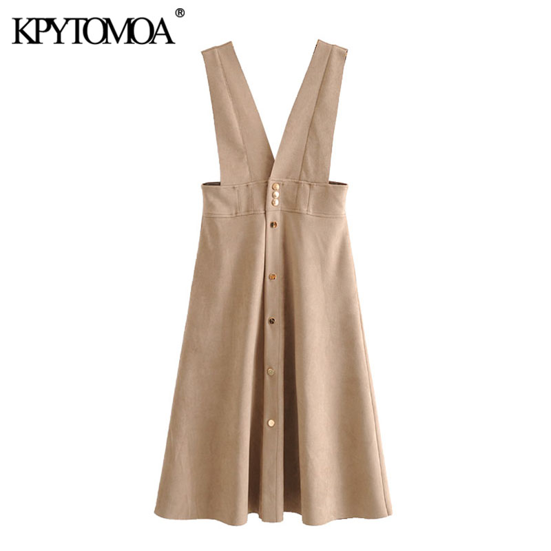 KPYTOMOA Women 2020 Chic Fashion Faux Leather Midi Pinafore Dress Vintage V Neck Side Pockets Wide Straps Female Dresses Vestido