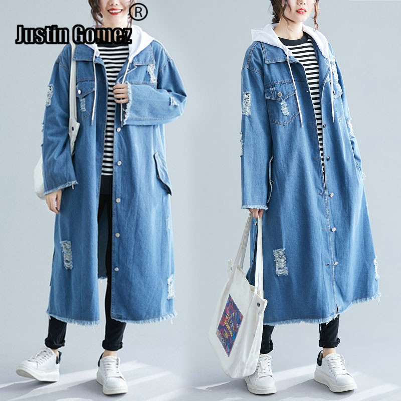 Female Denim Cardigan Hooded Trench Detachable Long Hoodie Denim Trench Coat Women's Windbreaker Large Size Ladies Clothes