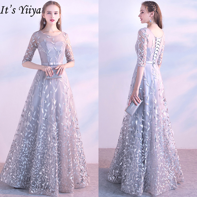 It's Yiiya Evening Dresses 2019 Fashion O-Neck Lace Up Floor Length Dresses Elegant Half Sleeve Appliques Formal Dresses LX326