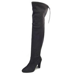 Image 4 - Femmes bottes noir sur le genou bottes dhiver Sexy femme automne dame cuisse longues bottes hautes chaussures 35