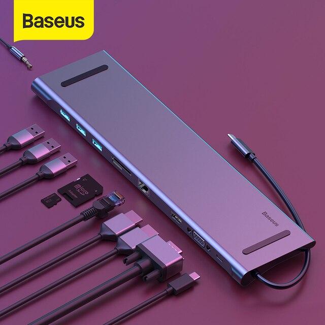 Baseus 11in1 متعدد USB C HUB نوع C إلى HDMI VGA RJ45 منافذ متعددة USB 3.0 60 واط الخائن لماك بوك برو عالية السرعة USB C الطاقة محور