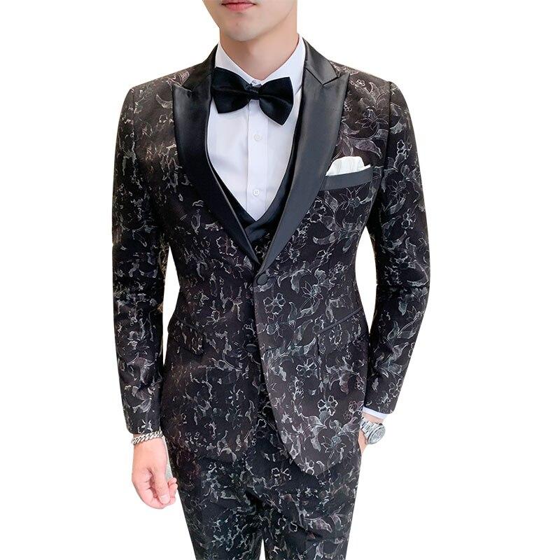 Темно синие свадебные Мужские костюмы двубортный на заказ приталенный смокинг жениха комплект из 2 предметов пиджак брюки мужской блейзер ... - 5