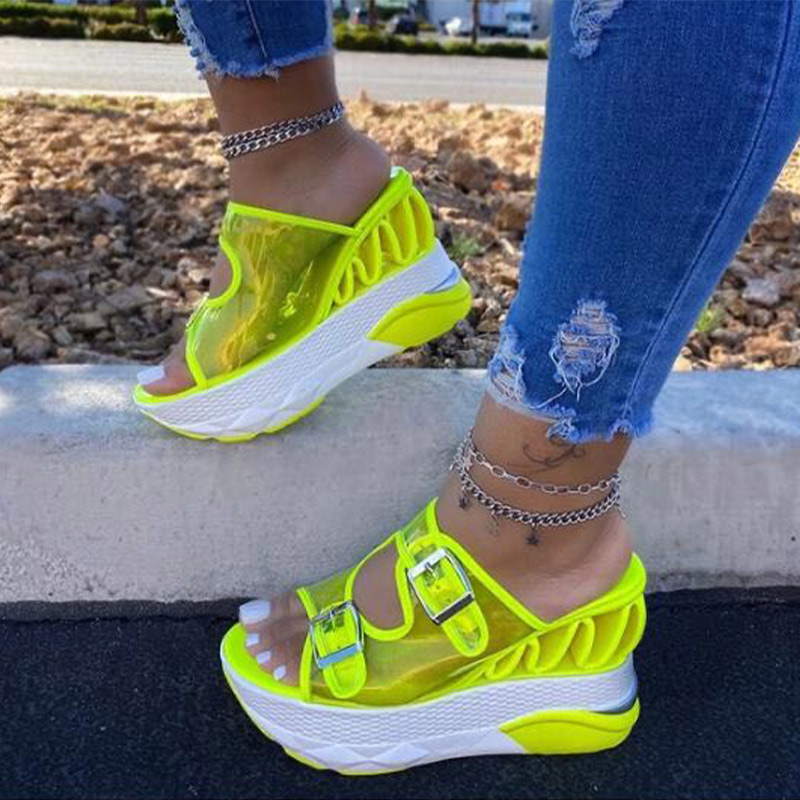 Women's Transparent PVC Slippers Ladies Flat Platform Sandals Super High Woman Double Buckle Straps Female Hot Summer 2020