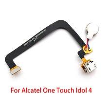 USB di alta Qualità Cavo Della Flessione Per Alcatel One Touch Idol 4 Idol4 Connettore Del Bacino di Carico del Caricatore Port Flex Con Microfono flex