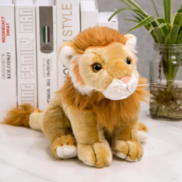 Real Life Lion Plush Toy Cute Kawaii Lion Stuffed Doll Plush Toys For Boys Children Birthday Gift